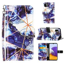 Starry Blue Stitching Color Marble Leather Wallet Case for Samsung Galaxy A22 5G