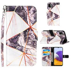 Black and White Stitching Color Marble Leather Wallet Case for Samsung Galaxy A22 5G