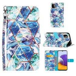 Green and Blue Stitching Color Marble Leather Wallet Case for Samsung Galaxy A22 5G