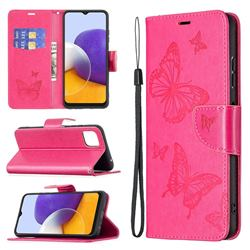 Embossing Double Butterfly Leather Wallet Case for Samsung Galaxy A22 5G - Red