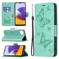 Embossing Double Butterfly Leather Wallet Case for Samsung Galaxy A22 5G - Green