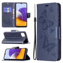 Embossing Double Butterfly Leather Wallet Case for Samsung Galaxy A22 5G - Dark Blue
