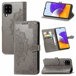 Embossing Imprint Mandala Flower Leather Wallet Case for Samsung Galaxy A22 5G - Gray