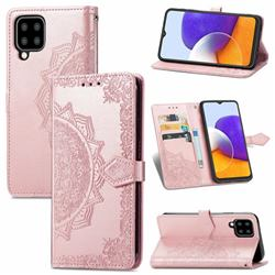 Embossing Imprint Mandala Flower Leather Wallet Case for Samsung Galaxy A22 5G - Rose Gold