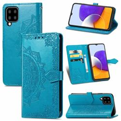 Embossing Imprint Mandala Flower Leather Wallet Case for Samsung Galaxy A22 5G - Blue