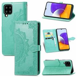 Embossing Imprint Mandala Flower Leather Wallet Case for Samsung Galaxy A22 5G - Green