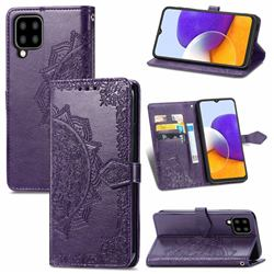 Embossing Imprint Mandala Flower Leather Wallet Case for Samsung Galaxy A22 5G - Purple
