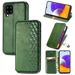 Ultra Slim Fashion Business Card Magnetic Automatic Suction Leather Flip Cover for Samsung Galaxy A22 5G - Green