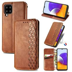 Ultra Slim Fashion Business Card Magnetic Automatic Suction Leather Flip Cover for Samsung Galaxy A22 5G - Brown