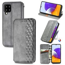 Ultra Slim Fashion Business Card Magnetic Automatic Suction Leather Flip Cover for Samsung Galaxy A22 5G - Grey