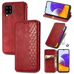 Ultra Slim Fashion Business Card Magnetic Automatic Suction Leather Flip Cover for Samsung Galaxy A22 5G - Red