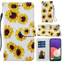 Sunflower Smooth Leather Phone Wallet Case for Samsung Galaxy A22 5G