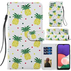 Pineapple Smooth Leather Phone Wallet Case for Samsung Galaxy A22 5G
