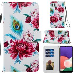Peacock Flower Smooth Leather Phone Wallet Case for Samsung Galaxy A22 5G