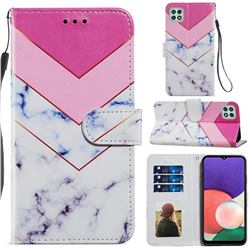 Smoke Marble Smooth Leather Phone Wallet Case for Samsung Galaxy A22 5G