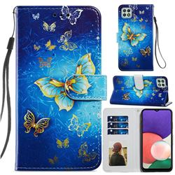 Phnom Penh Butterfly Smooth Leather Phone Wallet Case for Samsung Galaxy A22 5G