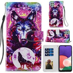 Wolf Totem Smooth Leather Phone Wallet Case for Samsung Galaxy A22 5G
