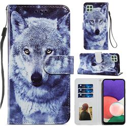White Wolf Smooth Leather Phone Wallet Case for Samsung Galaxy A22 5G