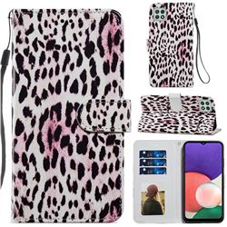 Leopard Smooth Leather Phone Wallet Case for Samsung Galaxy A22 5G