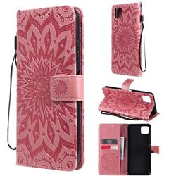 Embossing Sunflower Leather Wallet Case for Samsung Galaxy A22 5G - Pink
