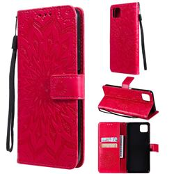 Embossing Sunflower Leather Wallet Case for Samsung Galaxy A22 5G - Red