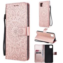 Embossing Sunflower Leather Wallet Case for Samsung Galaxy A22 5G - Rose Gold