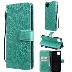 Embossing Sunflower Leather Wallet Case for Samsung Galaxy A22 5G - Green