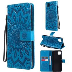 Embossing Sunflower Leather Wallet Case for Samsung Galaxy A22 5G - Blue