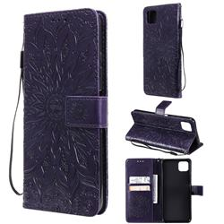 Embossing Sunflower Leather Wallet Case for Samsung Galaxy A22 5G - Purple