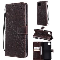Embossing Sunflower Leather Wallet Case for Samsung Galaxy A22 5G - Brown