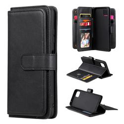 Multi-function Ten Card Slots and Photo Frame PU Leather Wallet Phone Case Cover for Samsung Galaxy A22 5G - Black