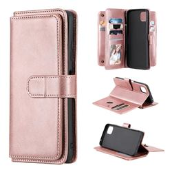 Multi-function Ten Card Slots and Photo Frame PU Leather Wallet Phone Case Cover for Samsung Galaxy A22 5G - Rose Gold