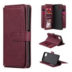 Multi-function Ten Card Slots and Photo Frame PU Leather Wallet Phone Case Cover for Samsung Galaxy A22 5G - Claret