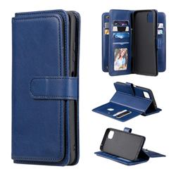 Multi-function Ten Card Slots and Photo Frame PU Leather Wallet Phone Case Cover for Samsung Galaxy A22 5G - Dark Blue