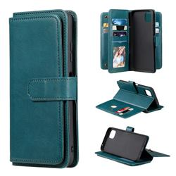 Multi-function Ten Card Slots and Photo Frame PU Leather Wallet Phone Case Cover for Samsung Galaxy A22 5G - Dark Green