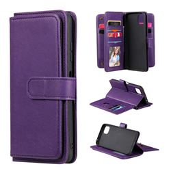 Multi-function Ten Card Slots and Photo Frame PU Leather Wallet Phone Case Cover for Samsung Galaxy A22 5G - Violet