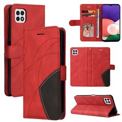 Luxury Two-color Stitching Leather Wallet Case Cover for Samsung Galaxy A22 5G - Red
