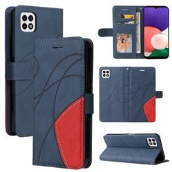 Luxury Two-color Stitching Leather Wallet Case Cover for Samsung Galaxy A22 5G - Blue
