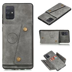 Retro Multifunction Card Slots Stand Leather Coated Phone Back Cover for Samsung Galaxy A22 5G - Gray