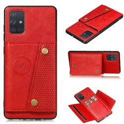 Retro Multifunction Card Slots Stand Leather Coated Phone Back Cover for Samsung Galaxy A22 5G - Red