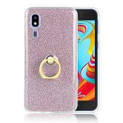 Luxury Soft TPU Glitter Back Ring Cover with 360 Rotate Finger Holder Buckle for Samsung Galaxy A2 Core - Pink