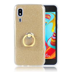 Luxury Soft TPU Glitter Back Ring Cover with 360 Rotate Finger Holder Buckle for Samsung Galaxy A2 Core - Golden
