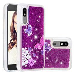 Purple Flower Butterfly Dynamic Liquid Glitter Quicksand Soft TPU Case for Samsung Galaxy A2 Core