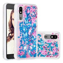Blue Plum Blossom Dynamic Liquid Glitter Quicksand Soft TPU Case for Samsung Galaxy A2 Core