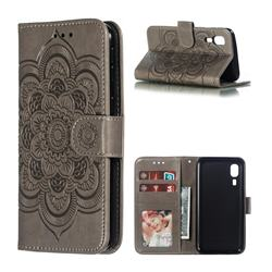 Intricate Embossing Datura Solar Leather Wallet Case for Samsung Galaxy A2 Core - Gray
