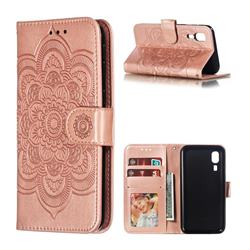 Intricate Embossing Datura Solar Leather Wallet Case for Samsung Galaxy A2 Core - Rose Gold