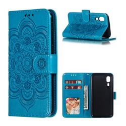 Intricate Embossing Datura Solar Leather Wallet Case for Samsung Galaxy A2 Core - Blue