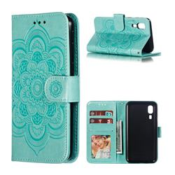 Intricate Embossing Datura Solar Leather Wallet Case for Samsung Galaxy A2 Core - Green