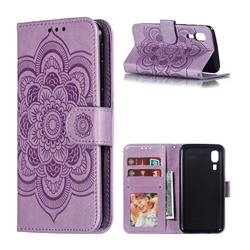 Intricate Embossing Datura Solar Leather Wallet Case for Samsung Galaxy A2 Core - Purple