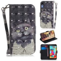 Cat Embrace 3D Painted Leather Wallet Phone Case for Samsung Galaxy A2 Core